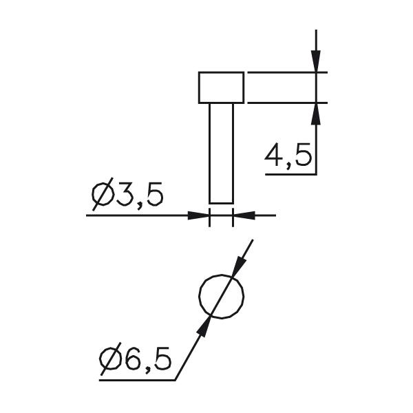 Messeinsatz plan, rund, Paar Ø 6,5mm, L=4,5mm