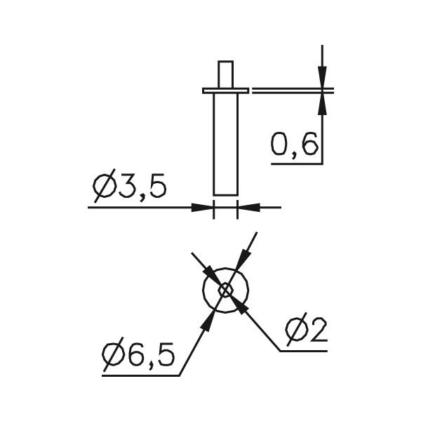 Messeinsatz abgesetzte Messspitze, Paar Ø2mm, T-Ø6,5mm