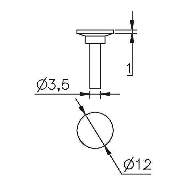 Messeinsatz Messteller, Paar Ø12mm