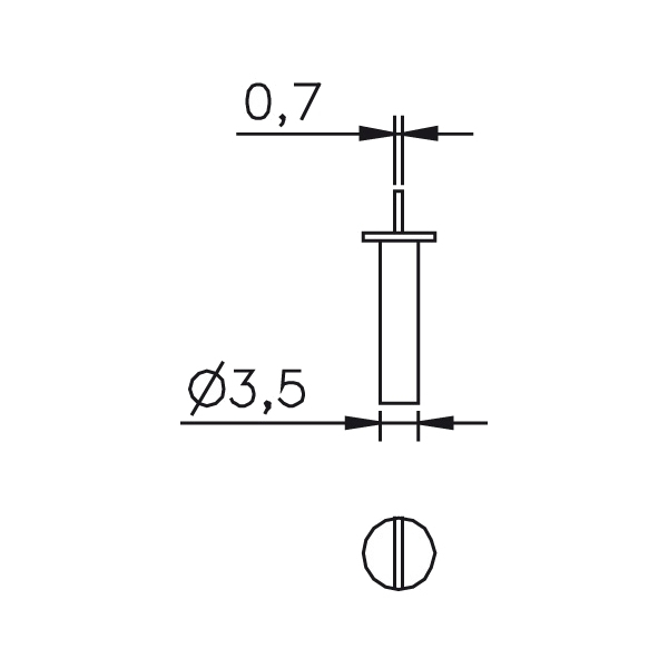 Messeinsatz abgesetzte Messfläche, Paar 0,7mm