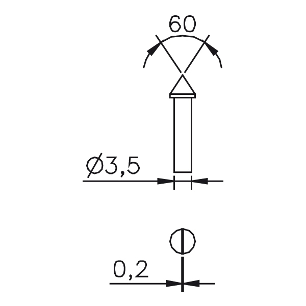 Messeinsatz kegelig flach, Paar 60°, Ø0,5mm