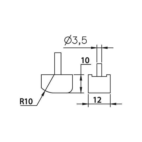 Messeinsatz plan abgerundet, Paar 10x12mm, R10