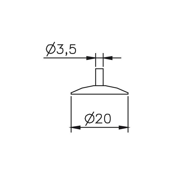 Messeinsatz Messteller rund, Paar Ø20mm