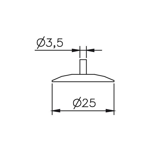 Messeinsatz Messteller rund, Paar Ø25mm