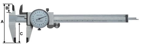 Messschieber mit Messuhr-Anzeige DIN 862 200 mm
