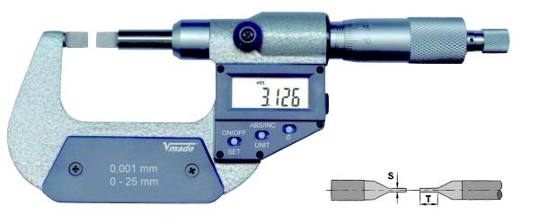 Digitale Messschraube mit abgeflachten Messflächen 0 - 25 mm
