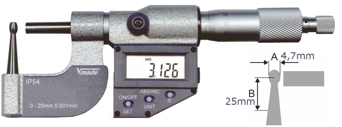 Digitale Rohrwand- Messschraube, IP54 0 - 25 mm