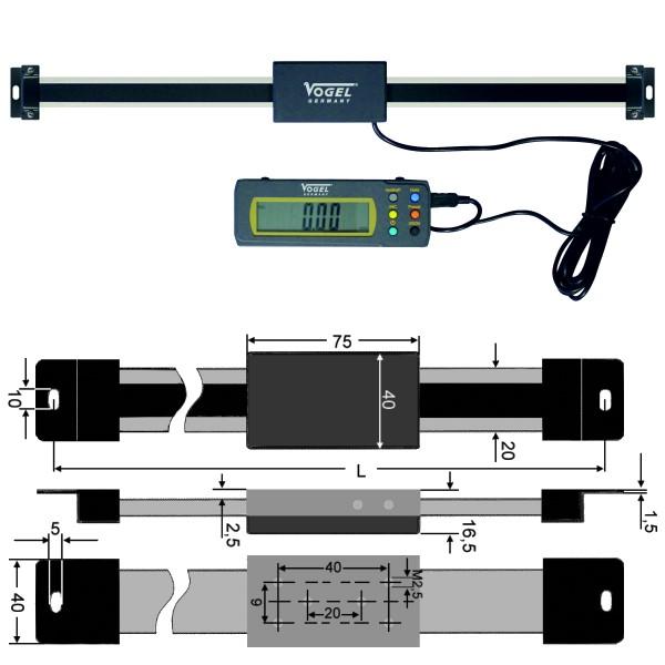 Digitales Anbau-Lineal mit externer Anzeige 600 mm