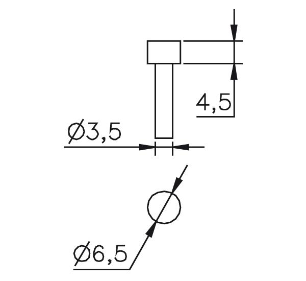Messeinsatz Stahl gehärtet plan Ø 6,5mm, L=4,5mm
