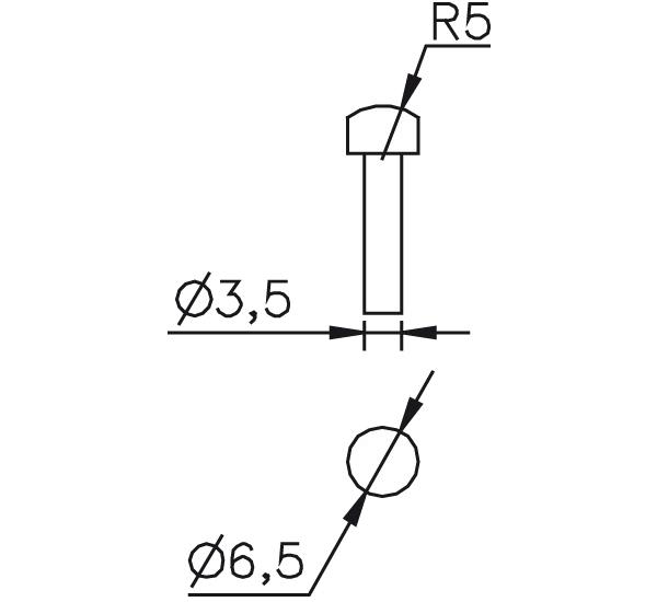 Messeinsatz Stahl gehärtet gewölbt R5, Ø6,5mm