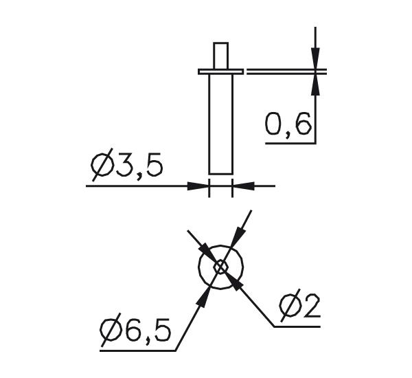 Messeinsatz Stahl gehärtet abgesetzte Messspitze Ø2mm, T-Ø6,5mm