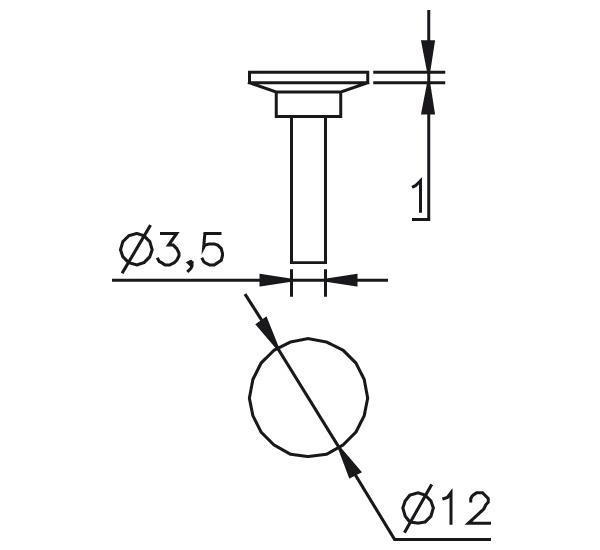 Messeinsatz Stahl gehärtet Messteller Ø12mm