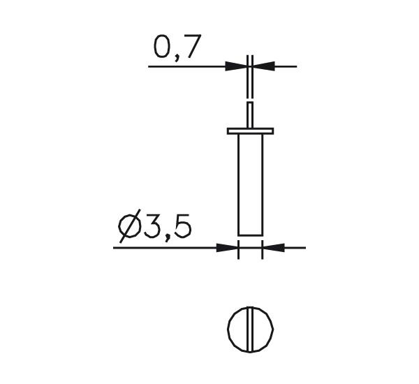 Messeinsatz Stahl gehärtet abgesetzte Messfläche 0,7mm
