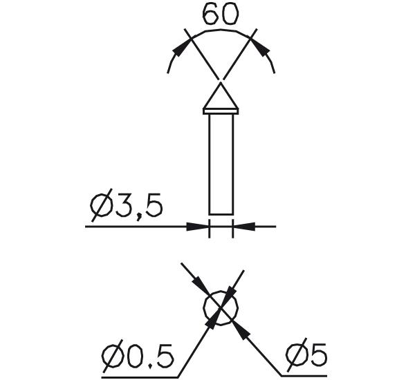 Messeinsatz Stahl gehärtet kegelig spitz 60°, Ø0,5mm