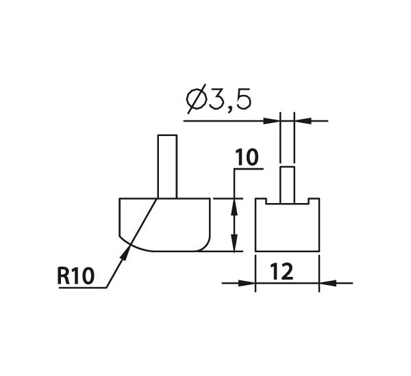 Messeinsatz Stahl gehärtet plan abgerundet 10x12mm, R10