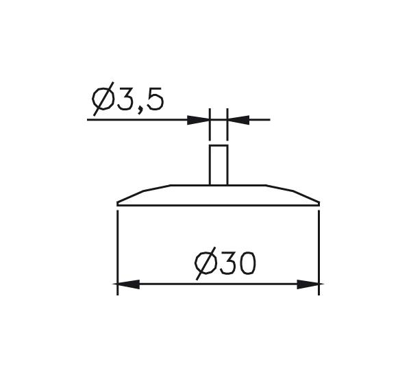 Messeinsatz Stahl gehärtet Messteller rund Ø30mm