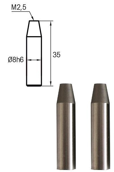 Adapterbolzen Paar Vergleichsmessgeräte M2,5, L = 35mm