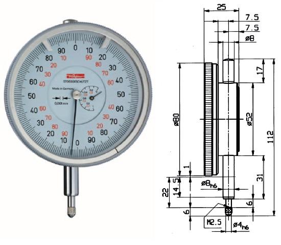 Feinmessuhr 0 - 1 mm FM1000/80T