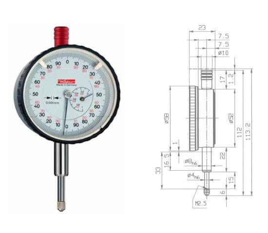 Feinmessuhr  FM500T 0 - 1 mm