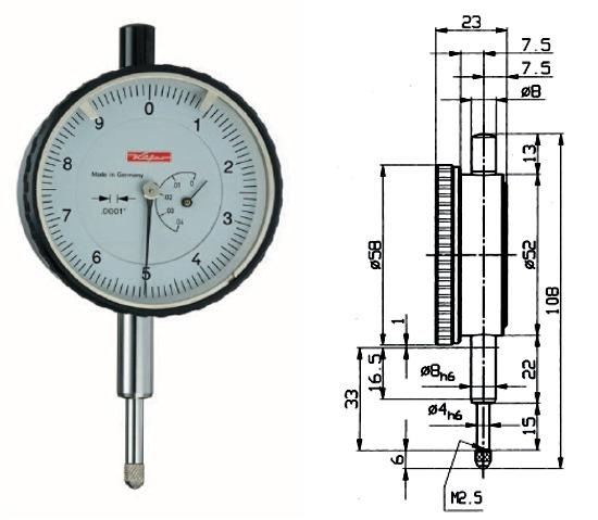 Zollmessuhr FZO T 0 - 0,04 inch