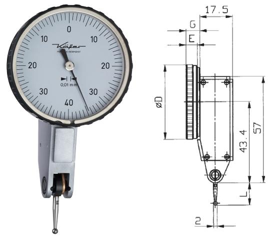 Fühlhebelmessgerät K 40 0 - 0,8 mm