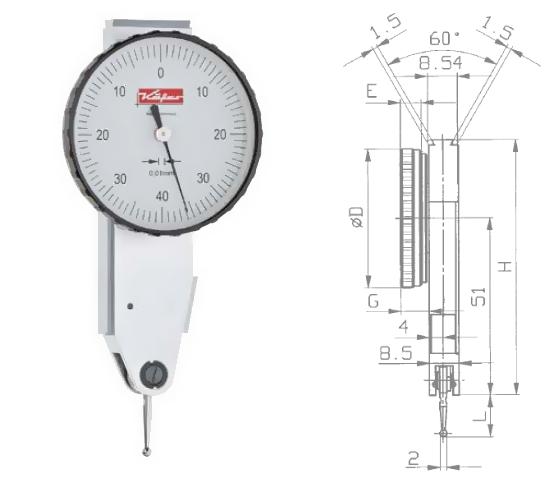 Fühlhebelmessgerät K 41 0 - 0,8 mm