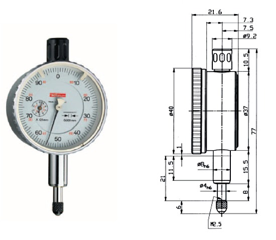 Feinmessuhr  Feinika KM 1101 0 - 1 mm
