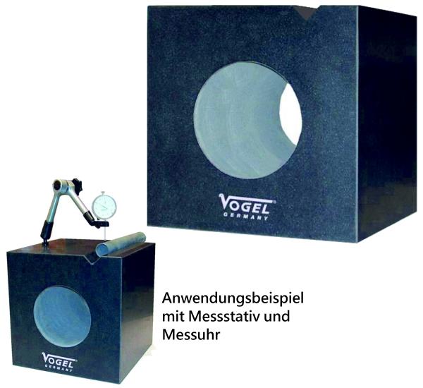 Messwürfel aus Granit mit 90° V-Einschnitt 300 x 300 x 300 mm