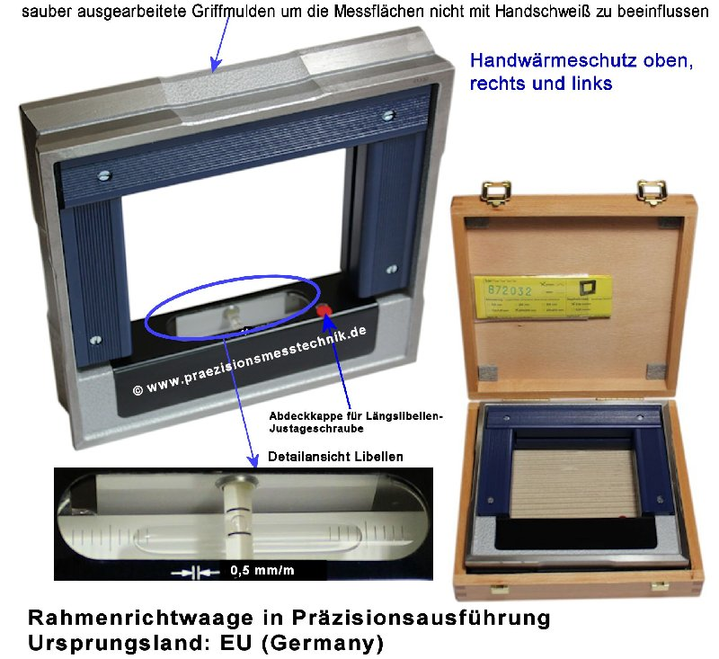 Rahmenrichtwaage, Rahmen-Wasserwaage 150 x 150 mm