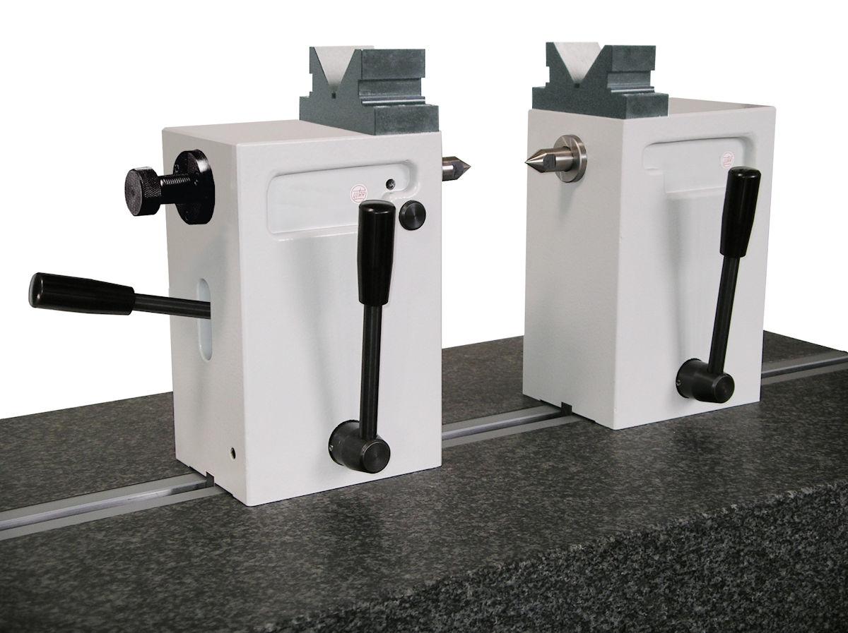Reitstöcke-Paar aus Spezialguss mit Handhebel, Prismenaufsatz H = 100 mm