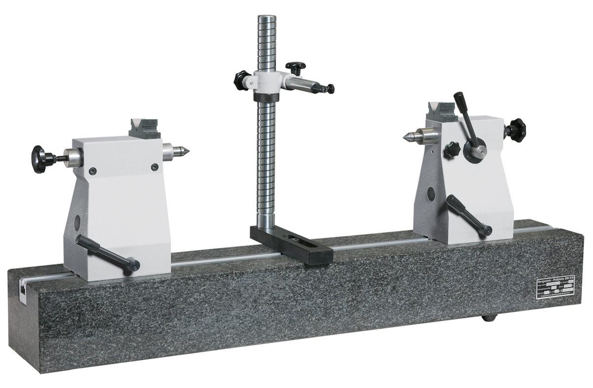 Rundlaufprüfgerät mit Hartgestein-Messbank mit Prismenaufsatz 200mm x 650mm