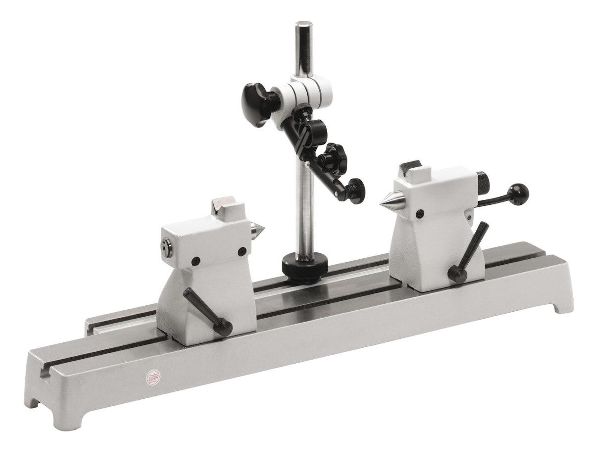 Rundlaufprüfgerät mit Stahl-Messbank, Reitstöcke mit Prismenaufsatz 75mm x 200mm