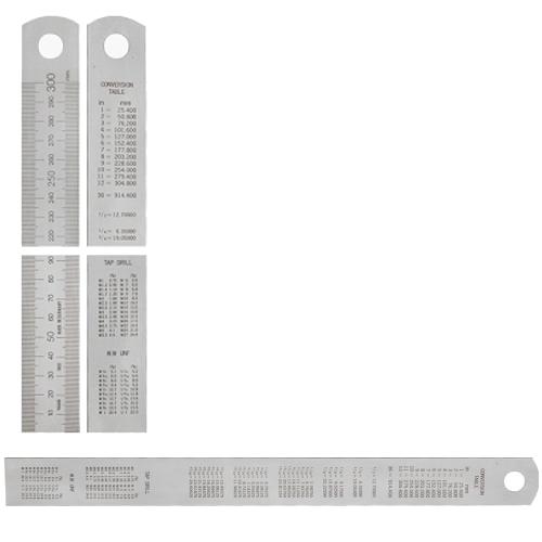 Stahlmaßstab mit Umrechnungstabelle 500 x 30 x 1,0 mm