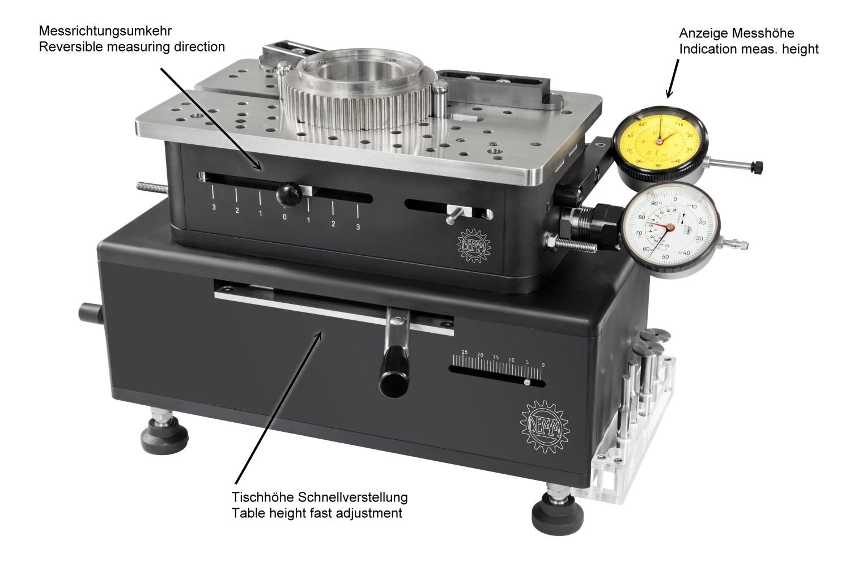 Universal Vergleichsmessgerät m. verstellbaren Tisch 20-200mm / 0-180mm