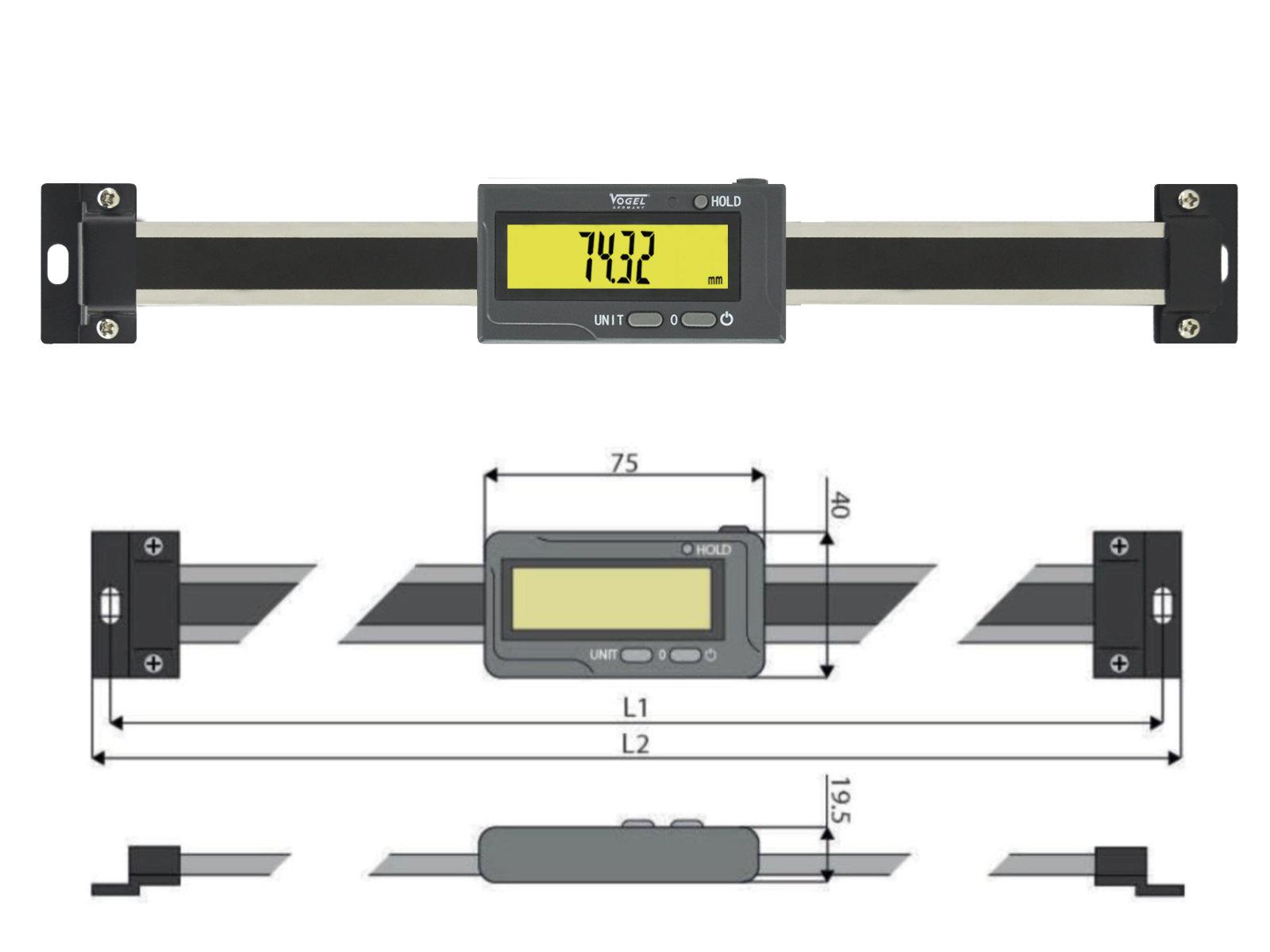 Digitaler Anbaumessschieber horizontal - mit Bluetooth®