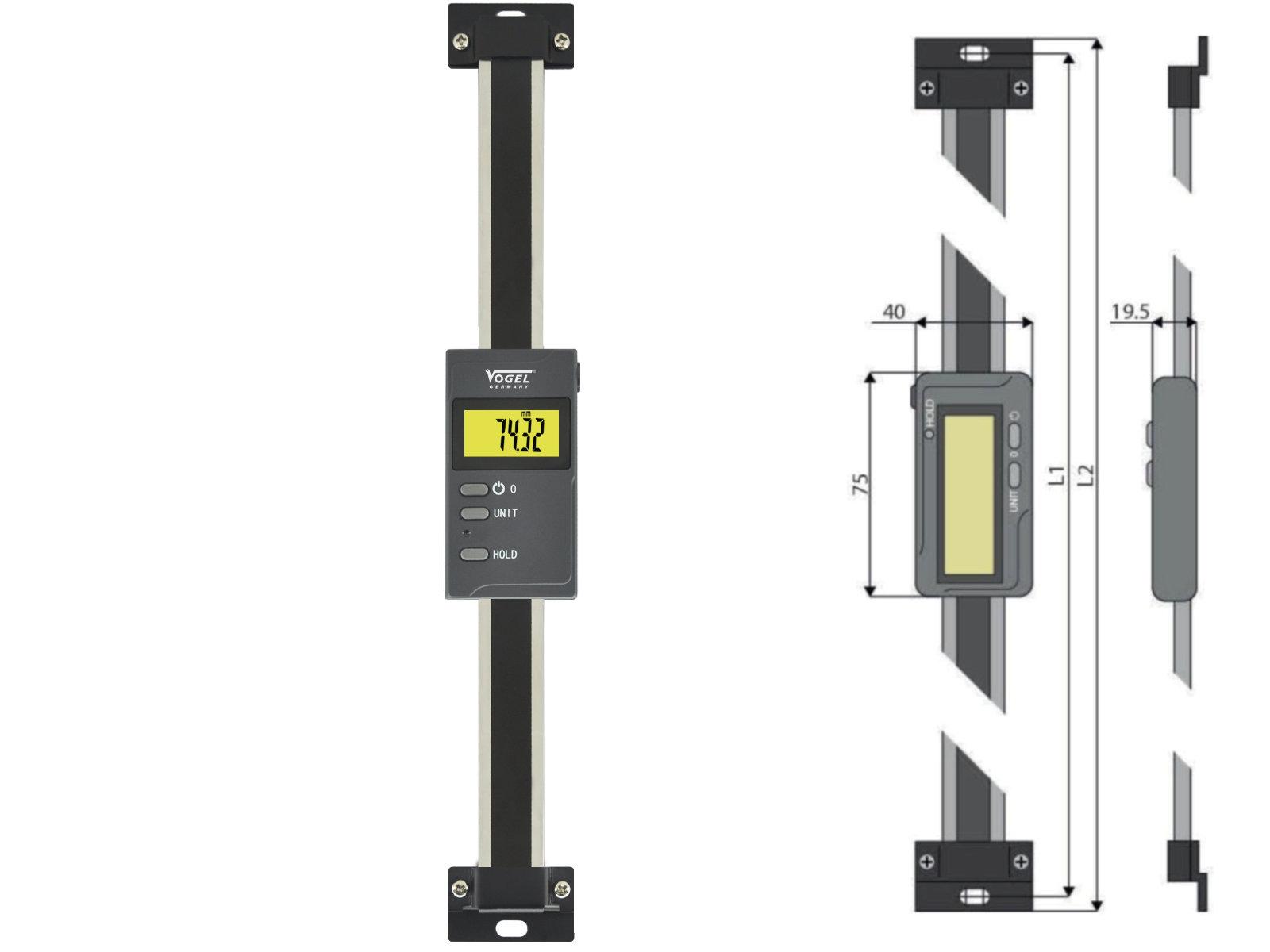 Digitaler Anbaumessschieber vertikal - mit Bluetooth®