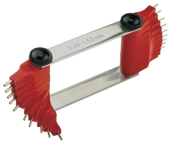 Düsenlehre mit Stahlstiften in Kunststoff gefaßt 0,45 - 1,5 mm