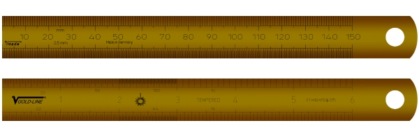 Rostfreier Stahlmaßstab, vergoldet 150 mm (6 inch)